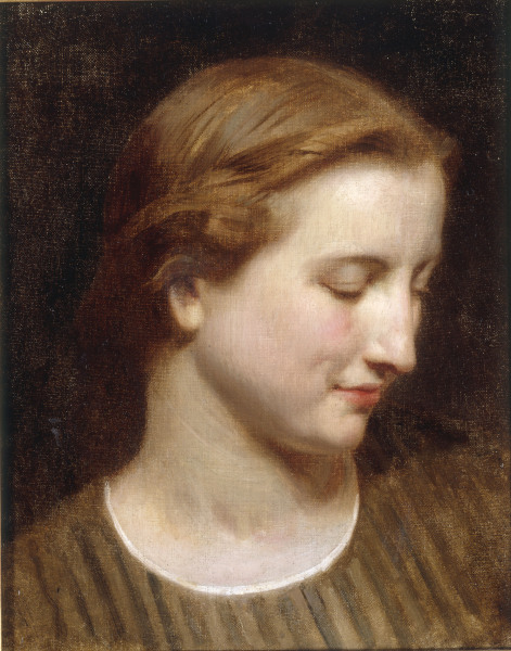 W.A.Bouguereau, Kopfstudie Frau - W.Bouguereau, Woman in a Striped Dress. -