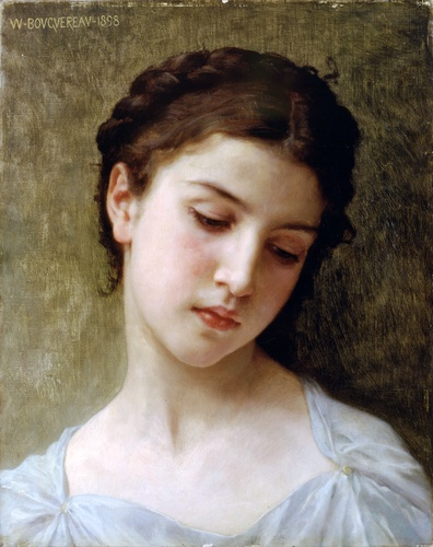 William Adolphe Bouguereau - study head of young girl